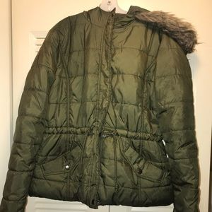 Olive Green Puffy Winter Jacket